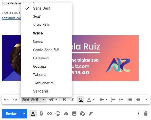gmail cambio de tipografía texto email