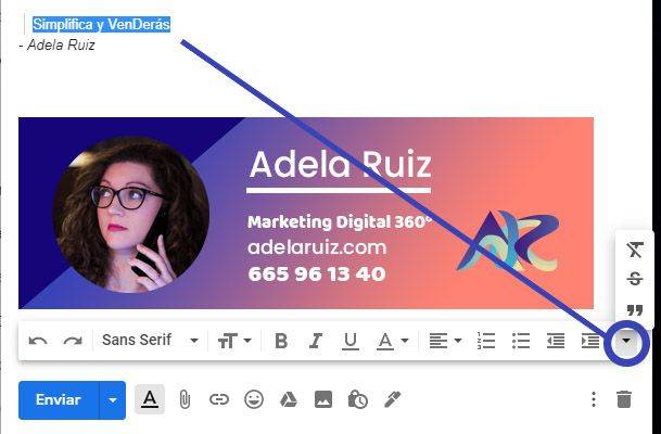 Gmail insertar palabras textuales o citar