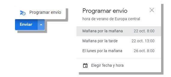Gmail programar envío