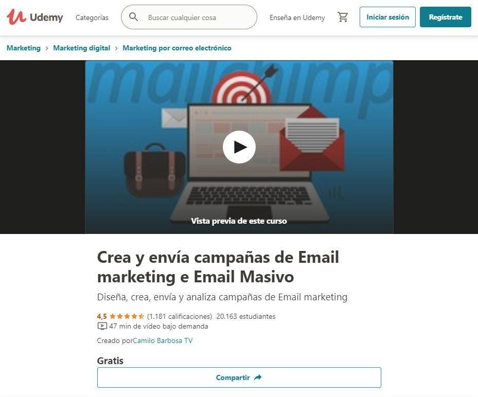 Cursos Gratis para aprender Email Marketing: udemy