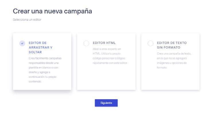 ¿Cómo hacer una newsletter con Benchmark? - Elegir Campaña Benchmark