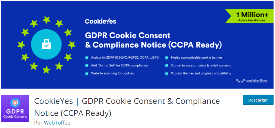 Plugin wordpress GDPR cookie consent