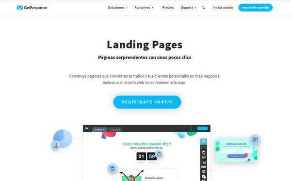 GetResponse Herramientas para hacer Landing Pages