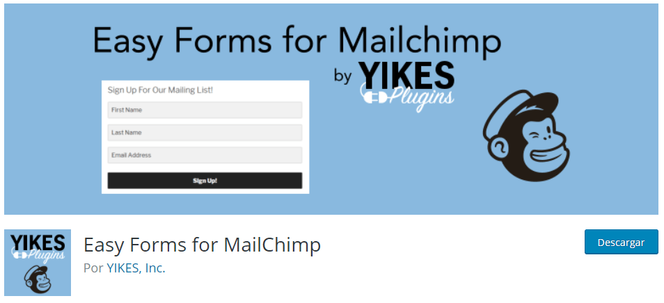 Plugin WordPress Easy Forms for MailChimp