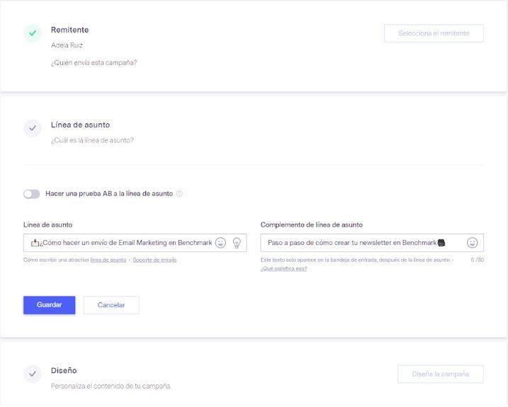 ¿Cómo hacer una newsletter con Benchmark? - Remitente